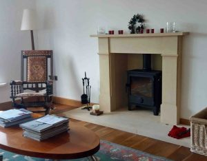 Victorian fireplace in Bath stone