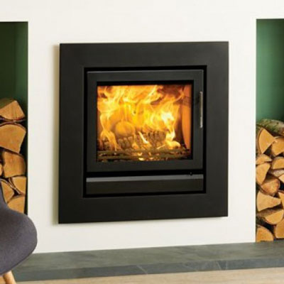 Riva 50 inset fire with 4 sided wide frame. - Pinckney Green Stoneworks