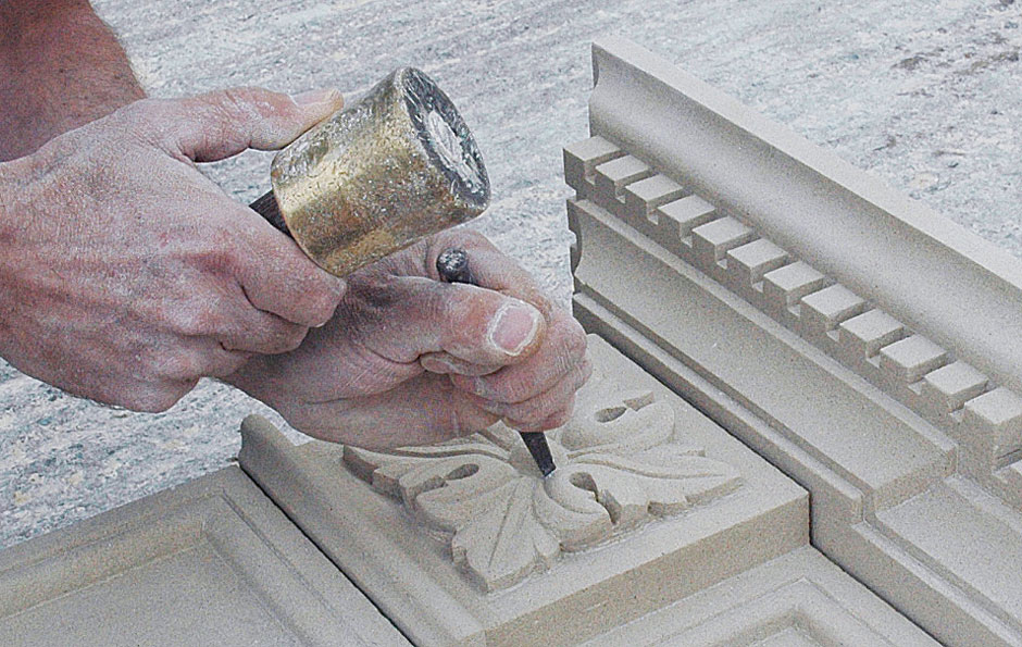 hand carved fireplace