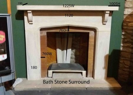 reduced Bath stone surround fire