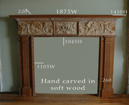 reduced wooden fire surround