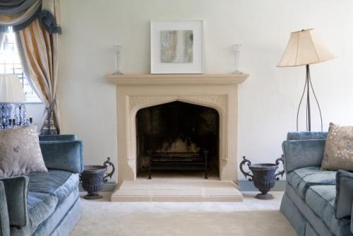 Stone fireplace room photo